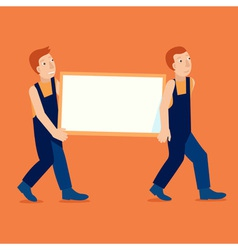characters holding empty frame with copy space for vector image vector image
