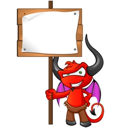 Devil Mascot Holding Sign vector image vector image