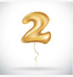 Gold balloon font part of number two 2 couple vector