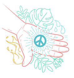 hand with the symbol of peace vector image vector image