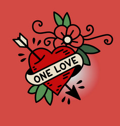 heart one love tattoo vector image vector image