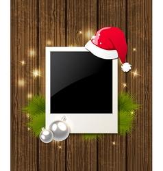 Photo fir branch and Santas hat vector image
