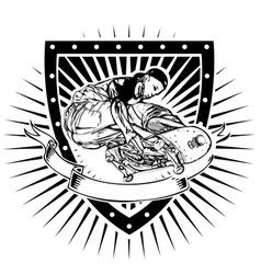 skater shield vector image vector image