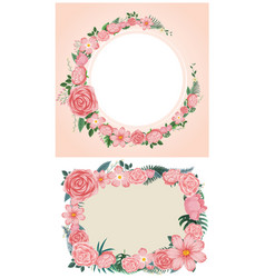 two designs of border with pink roses vector image vector image