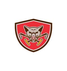 Wild Hog Head Crossed Polo Mallet Crest Retro vector image vector image