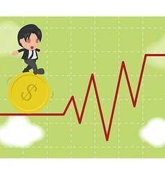 Business Man Walk Gymnastics Risky Stock Market vector image