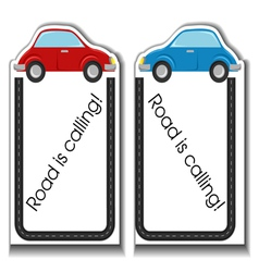 Cartoon cards with cars and road border vector image vector image