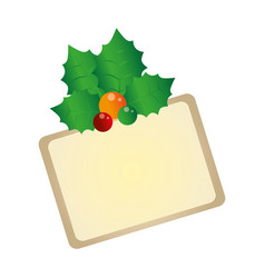 color christmas card with holly leaves vector image