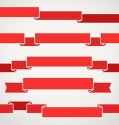 Different retro style red ribbons set vector