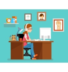 Freelance woman working at home with computer vector image vector image