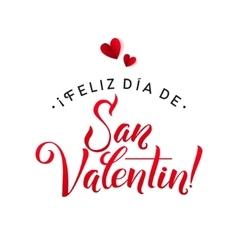 Happy valentines day card spanish calligraphic vector