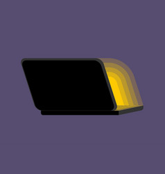 open black laptop back at night screen light vector image