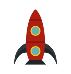 Red rocket icon flat style vector image
