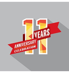 11th Years Anniversary Celebration Design vector image