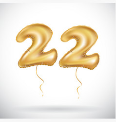 22 anniversary celebration with brilliant gold vector