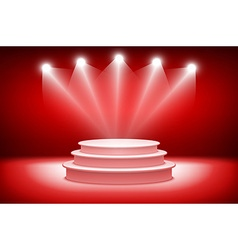 3d theatrical background scene and red curtains vector
