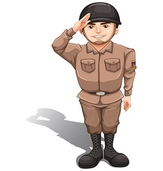 A brave soldier doing a hand salute vector image