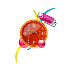 abstract and swirl clock red color vector image