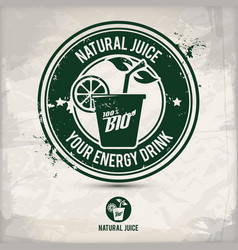 alternative natural juice stamp vector image