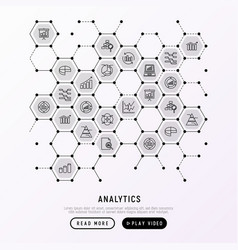 analytics concept in honeycombs vector image