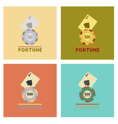 assembly flat icons poker fortune chip card vector image