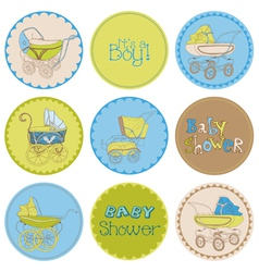 Baby Boy Shower Party Set vector image
