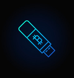 Bitcoin usb flash blue icon - vector