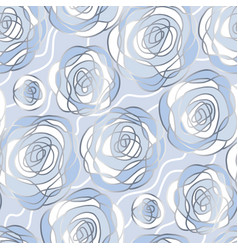 blue and silver abstract roses seamless pattern vector image