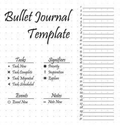 Bullet journal template simple papers task vector