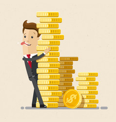 businessman hug a pile of coins business economic vector image