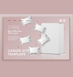 candy bars and box modern site template vector image