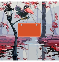 cartoon crow holding in its beak a signboard in vector image