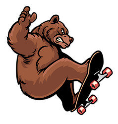 Cartoon grizzly playing skateboard vector