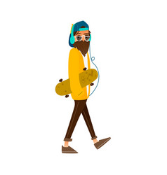 cartoon hipster man holding skateboard vector image