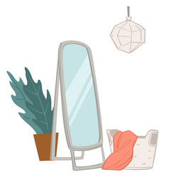 Changing room with full length mirror and cloth vector