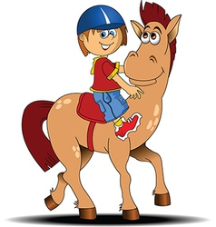 Child riding horse vector