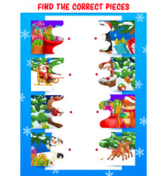 Children christmas holiday puzzle game vector