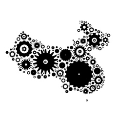 China map silhouette mosaic of cogs and gears vector