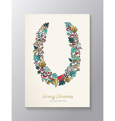 Christmas and new year gold nature wreath card vector