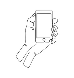 continuous one line drawing hand with smartphone vector image