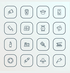 cooking icons line style set with cheese kitchen vector image