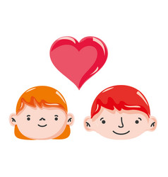 couple head together with heart love symbol vector image