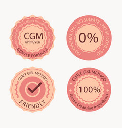 Curly hair method badge collection vector