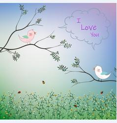 Cute bird couple fall in love vector