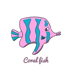 Cute cartoon coral fish vector image