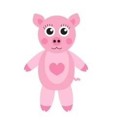 Cute cartoon pig character Children s toy pig on vector