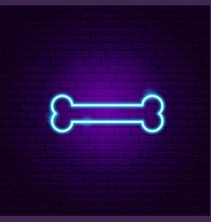 dog bone neon sign vector image