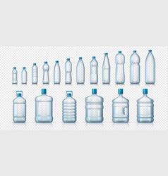 Empty plastic bottles realistic transparent vector