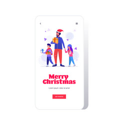 family with colorful gift boxes merry christmas vector image
