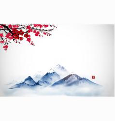 Far blue mountains and sakura blossom hand drawn vector